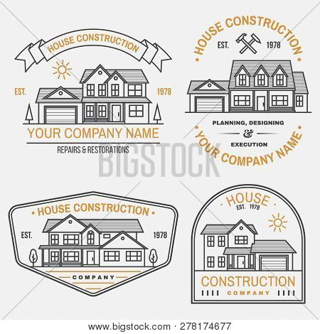 Set Of House Construction Company Identity With Suburban American House. Vector Illustration. Thin L