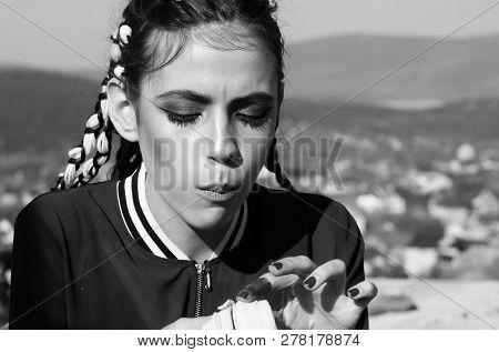 Cute Girl With Long Braids, Stylish Makeup, Eating Vitamin Banana. Wanderlust, Idyllic Vacation. Hea