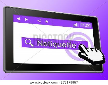 Netiquette Polite Online Decorum Or Web Etiquette - 3D Illustration