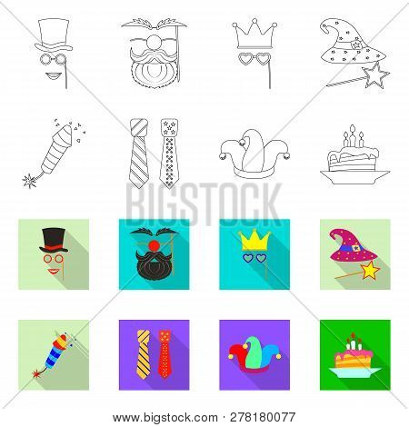 Vector Illustration Of Party And Birthday Symbol. Set Of Party And Celebration Vector Icon For Stock