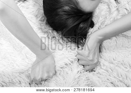 young sensual woman lying on bed, have orgasms, monochrome poster