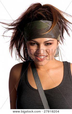 Beautiful young Latina Warrior Woman in military camo