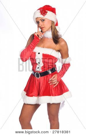 Sexy Ms. Santa Claus isolated over white