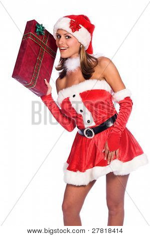 Sexy Ms. Santa Claus smiles as she delivers a Christmas present