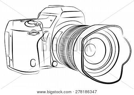 A Sketch Of The Slr Digital Camera.