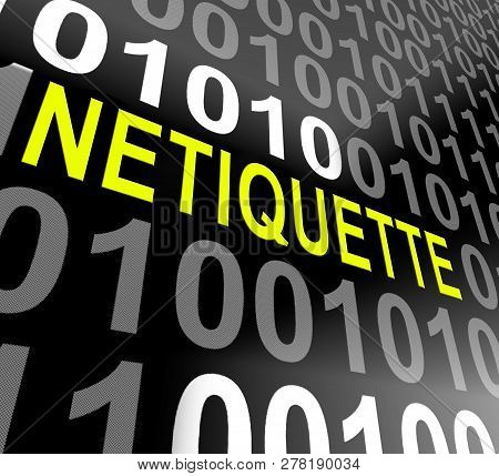 Netiquette Polite Online Behavoir Or Web Etiquette - 3D Illustration