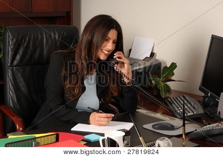 Female executive talking on the phone and writing notes at her desk