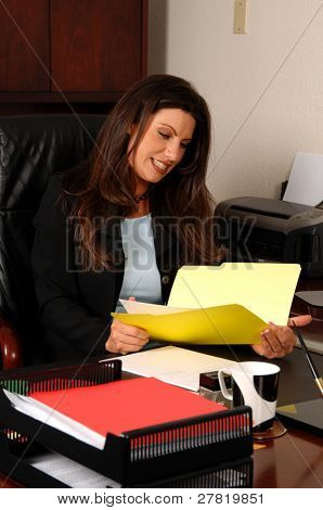 Female executive sitting at her desk and reading a client file