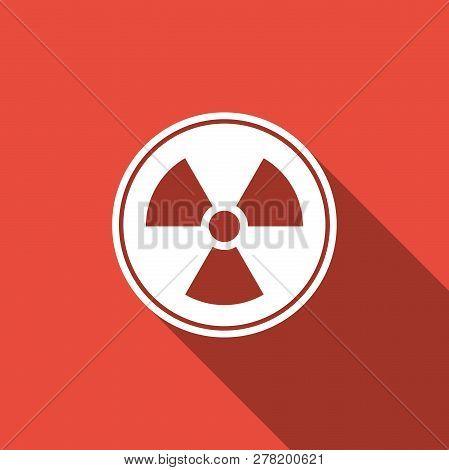 Radioactive Icon Isolated With Long Shadow. Radioactive Toxic Symbol. Radiation Hazard Sign. Flat De