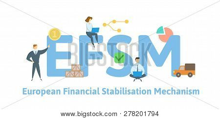 Efsm, European Financial Stabilisation Mechanism. Concept With Keywords, Letters And Icons. Flat Vec
