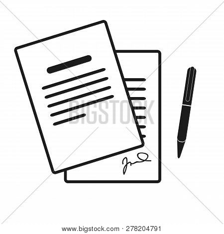 The Contract Icon. Agreement And Signature, Pact, Accord, Convention Symbol. Flat Vector Illustratio