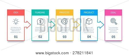 Process Chart. Arrows Diagram, Flowing Processes And Business Process Steps Infographic Isolated Vec