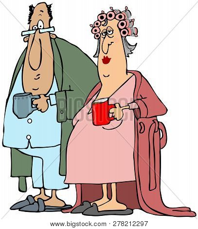 Illustration Of An Old Man And Woman Wearing Pajamas And Robes Holding Cups Of Coffee.