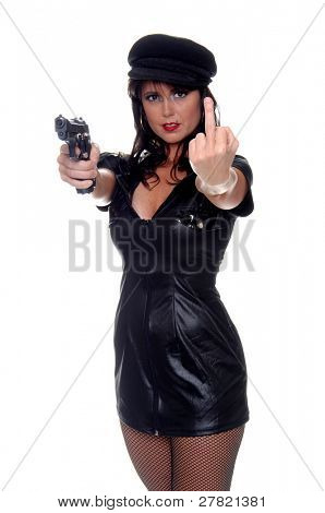 Very sexy young Police woman with a pistol conveying a very definite message of being F*cked one way or the other