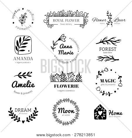 Floral Ornament Logo. Laurel Leaves Wreath Frame, Doodle Flower Leaf Label And Vintage Flowers Ornam