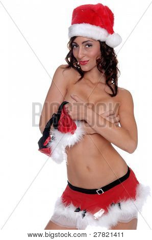 Santa's sexy helper is being naughty, standing topless with her breasts covered by her hands
