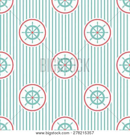Nautical Seamless Striped Pattern With Blue Helms On White. Ship And Boat Steering Wheel Ornament.