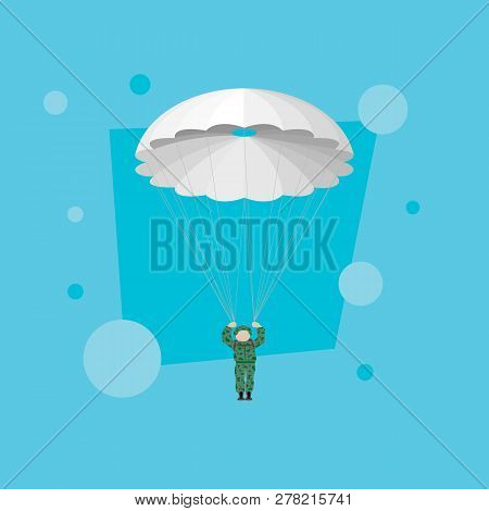 Military Paratrooper In The Blue Sky. Paratrooper