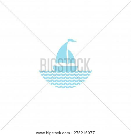 Flat Powder Blue Silhouette Of Boat With Two Sails And Little Waving Flag On The Water.