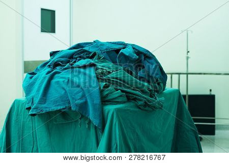 Operating Room Green Clothes After Finishing Surgery In Operating Room