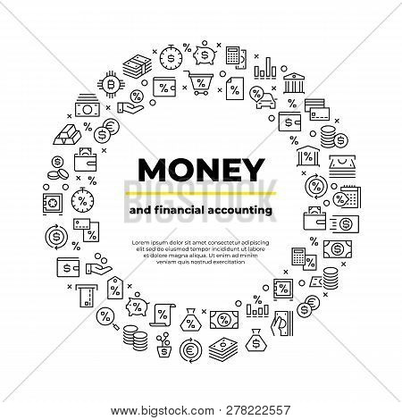 Finance Account Line Icons. Money Balance, Real Estate Car Crediting Finance Productivity Poster. Ba