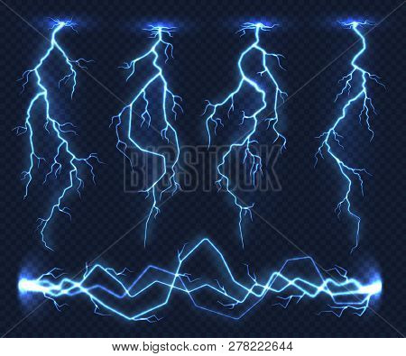 Realistic Lightnings. Electricity Thunder Light Storm Flash Thunderstorm In Cloud. Nature Power Ener