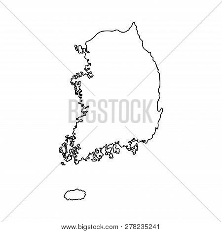 Vector Isolated Simplified Illustration Icon With Black Line Silhouette Mainland Of South Korea. Whi