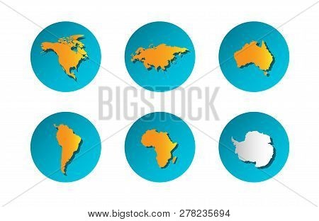 Vector Illustration Icons With Orange And White  Simplified Silhouette Of Continent Eurasia, Africa,