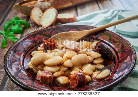Traditional Spanish Dish With Big Beans Called Fabada