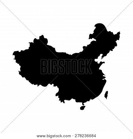 Vector Isolated Simplified Illustration Icon With Black Silhouette Mainland Of China. White Backgrou