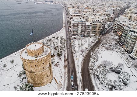 Aerial View Of The Snowy Famous White Tower In The City Of Thessaloniki In Northern Greece
