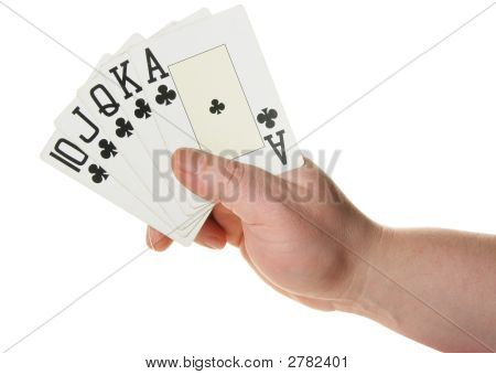 Hand Holding Royal Flush