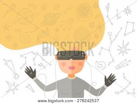 Virtual Reality Vector Card. Girl Playing A Virtual Game. Cartoon Flat Illustration.