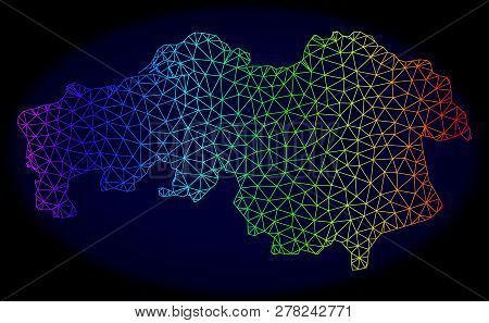 Rainbow Colored Mesh Vector Map Of North Brabant Province Isolated On A Dark Blue Background. Abstra