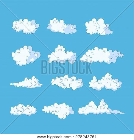 Cloud Vector Icon Set. Seamless Pattern. Fluffy Sky Shape Drawing. Heaven Spring Wallpaper.