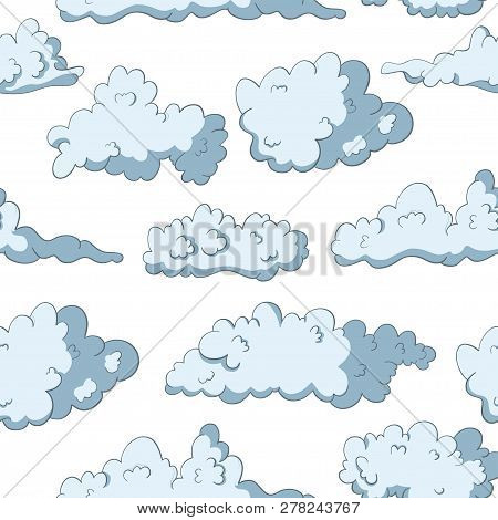 Cloud Seamless Pattern. Fluffy Sky Drawing. Heaven Spring Wallpaper.