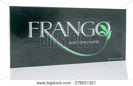 Winneconne, Wi - 30 December 2018: A Package  Of Frango Mint Chocolates On An Isolated Background.
