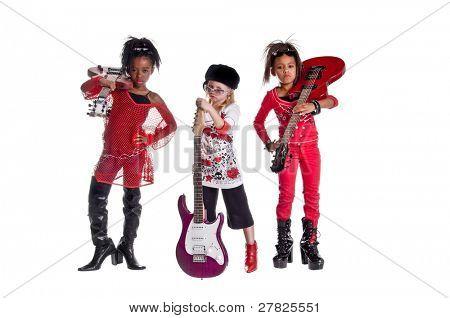 재생 여자 밴드 드레스 젊은 여자의 다 인종 그룹