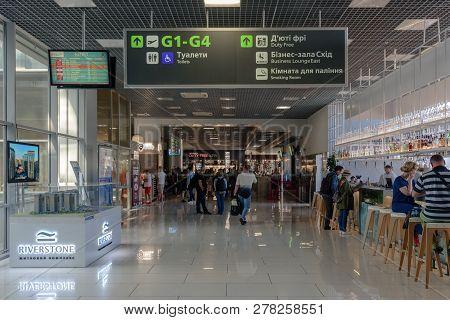 Kiev, Ukraine- August 23, 2018: Interior Of International Airport With Informational Board And Depar
