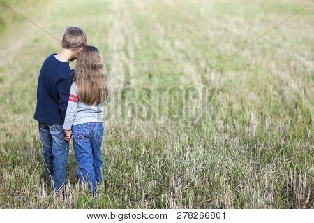 Little Boy And Girl Holding Hands Images Illustrations Vectors