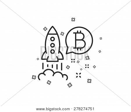 Bitcoin Line Icon. Cryptocurrency Startup Sign. Crypto Rocket Symbol. Geometric Shapes. Random Cross