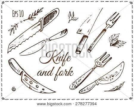 Set Of Knives And Forks Vector Illustrations. Hand Drawn Sketches Of Cutlery Isolated On White Backg