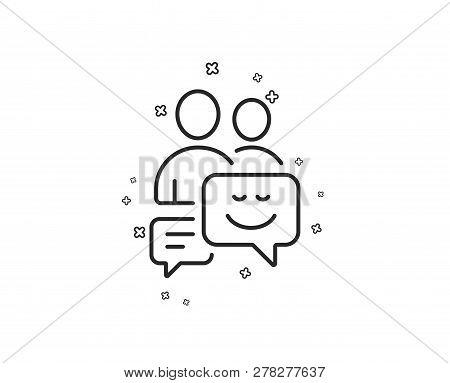 Group Of Men Line Icon. Human Communication Symbol. Teamwork Sign. Geometric Shapes. Random Cross El