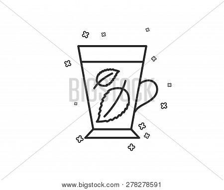 Mint Tea Line Icon. Fresh Herbal Beverage Sign. Mentha Leaves Symbol. Geometric Shapes. Random Cross