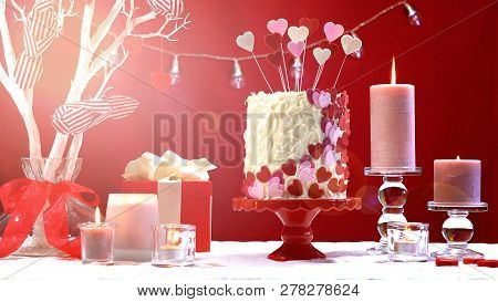 Valentines Day Party Table With Showstopper Hearts Cake With Lens Flare.
