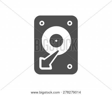 Hdd Icon. Hard Disk Storage Sign. Hard Drive Memory Symbol. Quality Design Element. Classic Style Ic