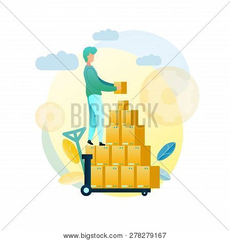 Vector Illustration Loading Goods Shipment Client. Image Male Loader Folding Shopping Boxes With Cli