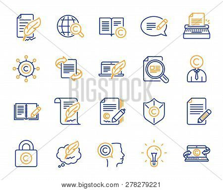 Copywriting Book Line Icons. Set Of Copyright Protection, Signature And Feedback Icons. Typewriter,