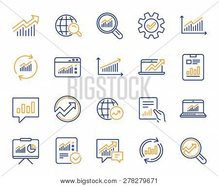 Analytics, Statistics Line Icons. Set Of Chart, Report Document And Graph Icons. Data Analytics, Pre