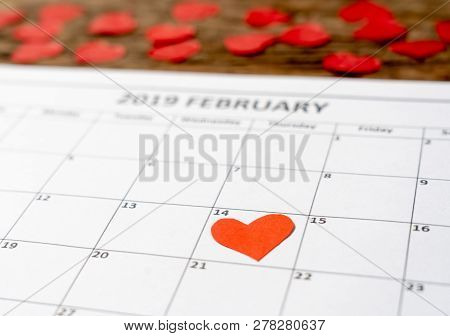 Close Up Of Red Heart On Day 14Th Of February 2019 Calendar In Saint Valentines Day Celebrating Love